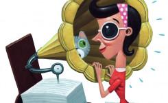 Tekening: vrouw luistert naar boek met hoofdtelefoon